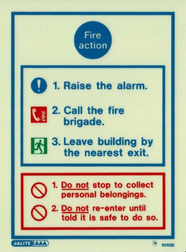 (5055D) Jalite Fire Action Notice Sign
